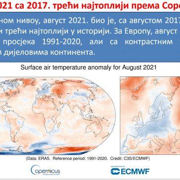 Температура ваздуха за август мјесец 2021.године (према Copernicus-у)